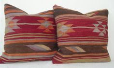 SET of 2 Kilim Pillow Cover Decorative Cherry Red by Sheepsroad, $119.00