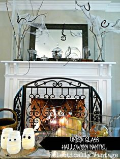 Under Glass Halloween Mantel Ideas