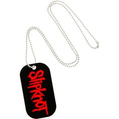 Slipknot Logo Dog Tag Necklace | Hot Topic ($2.99) ❤ liked on Polyvore featuring jewelry, necklaces, logo jewelry, bead necklace, beaded jewelry, dog tag necklace and beading jewelry