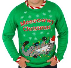 Men's Lighted Tangled Cat Sweater (Green) - Festified- $69.99