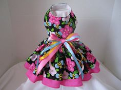 Dog Dress  XS  Black Bees in Paradise   By by NinasCoutureCloset, $30.00