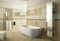 Many ideas in pictures for a beige bathroom - shower Beige Bathroom, Bathroom Wall, Lavanderia Self Service, Ceramic Tile Bathrooms, Industrial Bathroom, Color Tile, Tile Design, House Floor Plans, Corner Bathtub