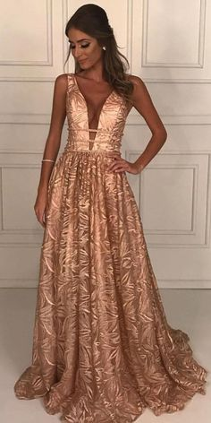 Deep V-Neck Floor-Length Champagne Lace Prom Dress with Beading unique champagne lace long prom dresses,chic a line prom dresses for teens,prettiest senior prom dresses for teens Senior Prom Dresses, V Neck Prom Dresses, Prom Dresses For Teens, Evening Dresses, Formal Dresses, Casual Dresses, Elegant Dresses, Sexy Dresses, Summer Dresses