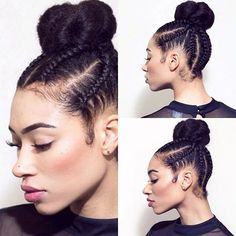"""This Cornrow and Bun Hybrid Is the Protective Style You Need to Try.""""If you're thinking about joining this Spring and… Braided Bun Hairstyles, Protective Hairstyles, Summer Hairstyles, Trendy Hairstyles, Protective Styles, Braided Updo, Updo Styles, Curly Hair Styles, Natural Hair Styles"""