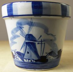 Delft Porcelain Small Plant Pot Hand Painted Delfts Blue Holland 3 25 Tall