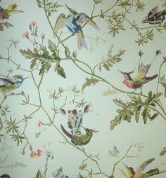 bird wallpaper wallcovering | Hummingbirds Wallpaper Wallpaper with colourful birds on branches ...