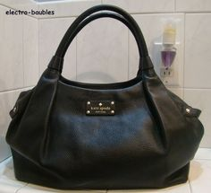 SOLD!!! Authentic KATE SPADE Berkshire Road Stevie Shopper in Black Leather - MINT! #KateSpade #Tote