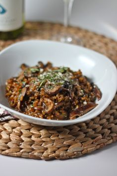 Freekeh Risotto with Mushrooms and Tarragon