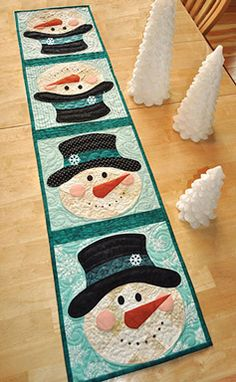 Patchwork Snowman Table Runner Pattern