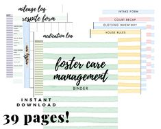 Foster Care / Adoption Organization   Management Binder . 8.5 x 11 in . Printable . DIGITAL DOWNLOAD . Easy to use . Simple .