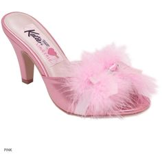 B.B. marabou mule PINK via Polyvore featuring shoes, heels, pink, pink mule, pink shoes, mule heel shoes, heeled mules and pink heel shoes