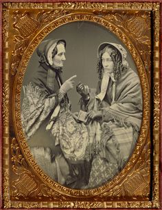 """Unknown maker, American [Portrait of Two Actresses], about 1853 - 1855 Daguerreotype x cm x 2 in. Paul Getty Museum, Los Angeles"" - Visit to grab an amazing super hero shirt now on Victorian Photos, Antique Photos, Vintage Pictures, Vintage Photographs, Old Pictures, Victorian Era, Vintage Images, Old Photos, Victorian Photography"