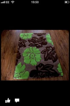chocolate & lime green sculptured rug x