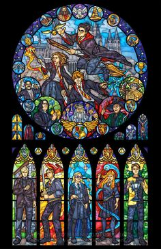 A print that imitates the look of stained glass. This window features the enchanting world of Harry Potter by Marissa Garner