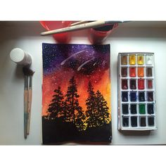 Невероятный закат в лесу / Incredible sunset in the forest #paper_pencil