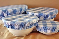 Great idea! Reusable Elastic Fabric Picnic Food Bowl Covers Lids Blue White Gingham Checker