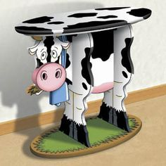 Table DIY Woodcraft Pattern - The mooove is on with cow decor… Wood Projects, Woodworking Projects, Wood Craft Patterns, Art Patterns, Cow Craft, Winfield Collection, Cow Kitchen, Cow Decor, Safari Decorations