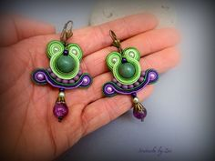 small dangle soutache earrings green-purple  from  The corner of Zivi Crafts by DaWanda.com