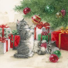 Cat Christmas Cards, Christmas Card Images, Vintage Christmas Images, Christmas Drawing, Christmas Scenes, Christmas Paintings, Christmas Animals, Vintage Holiday, Christmas Pictures