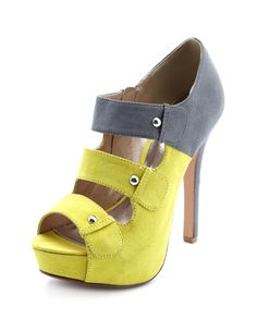 3-Strap Sueded Heel Bootie loving the neon and grey