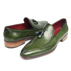 Paul Parkman Men's Tassel Loafer Green Leather (ID#083-GREEN)