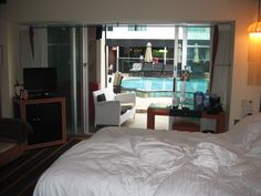 Brilliant Bedroom Interior With Small Pool In Hotel With Pool In Room Design Used Sliding Door Used Glass Material