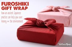 Forget overpriced wrapping paper! Use a furoshiki wrapping cloth instead as a beautiful and eco-friendly alternative that can be used again and again.