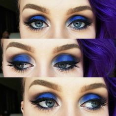 Instagram @lydiavh_mua  Blue eyes using urban decays electric palette. Follow for more looks