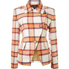 Anglomania Long sleeved tartan blazer ($335) ❤ liked on Polyvore featuring outerwear, jackets, blazers, coats, tops, orange, women, cotton jacket, tartan blazer and collar jacket