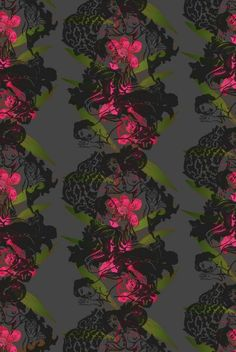 Oriental Orchid Hand-printed wallpaper  Timorous Beasties