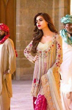 Mina Hasan Paksitani Dress Beige luxury formal by IrmaDesign