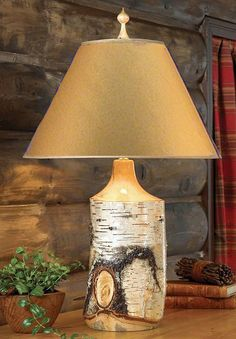 Birch Table Lamp - A Black Forest Decor Exclusive – Handmade with kiln-dried white birch wood and finished with three coats of lacquer - $239.95 - #WesternHome