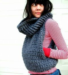 bitebritt:  Cold Weather Inspiration_Knitted Cowl Neck Vest