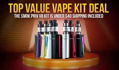 Smok Priv V8 mod kit review. Comes with TFV8 Baby 3 ml top-fill vape tank. Unbeatable price. Just make sure you get an authentic version!