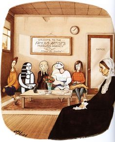 Welcome to the Famous Artists Modeling Agency by the American cartoonist and illustrator Harry Bliss.