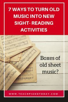 Read Music Buried in boxes of old piano music? Here's 7 ideas for turning it into a piano teaching tool. - 7 ways you can repurpose old sheet music into fun piano teaching activities! Piano Teaching, Teaching Tips, Teaching Activities, Piano Lessons, Music Lessons, Piano Practice Chart, Old Sheet Music, Music Worksheets, Music Classroom