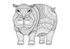 Hand drawn zentangle hippopotamus for coloring book for adult, tattoo, shirt design and other decorations Stock Image