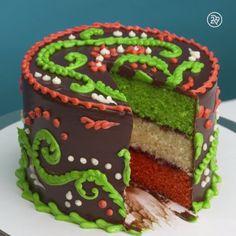 Watch this Italian rainbow cake be built