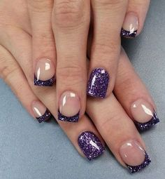 Violet Glitter French Manicure.
