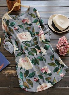 Floral Long Sleeve Linen Blouse Dress - Floral One Size Dress Outfits, Casual Dresses, Cute Outfits, Ladies Dresses, Floral Dresses, Women's Dresses, Vintage Dresses, Mini Dresses, Ladies Blouses