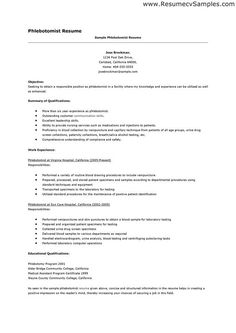 Sample Phlebotomy Resume Adorable 19 Best Resumé Images On Pinterest  Resume Help Resume Tips And .