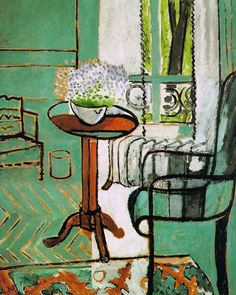 """Henri Matisse, The Window (c.1916) 116cm x 145cm In a letter Matisse described this picture: """"Through the window of the drawing room one sees the green of the garden and a black tree trunk, a basket of forget-me-nots on the table, a garden chair and a rug."""" First and foremost, this is a painting about light. It's of the interior of a living room. The forms are flattened out. Look at floor near the wastebasket. The brown paintstrokes indicating the interlocking boards of a parquet floor are…"""