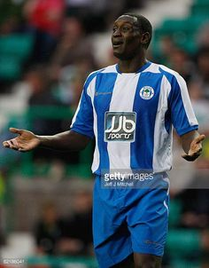 Emile Heskey of Wigan Athletic in action during a pre season friendly against Hibernian at Easter Road August 5 2008 in Edinburgh Scotland