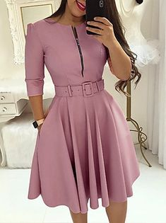 Women Fall Half Sleeve Tunic Party Dress O Neck Solid Zipper Belted Pleated Casual Office Dress Vestidos Mujer Dress Outfits, Casual Dresses, Fashion Dresses, Prom Dresses, Casual Outfits, Casual Clothes, Basic Clothes, Pleated Dresses, Belted Dress
