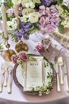 Flower Words, Wedding Coordinator, Blue Flowers, Wedding Table, Tablescapes, Purple, Pink, Table Settings, Entertaining