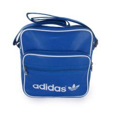 Bolso Adidas en color Azul y bordes en color blanco, doble bolsillo exterior en el frontal.