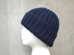 Navy Blue Hat Hand Knit Peruvian Wool Teens Men Women by Girlpower