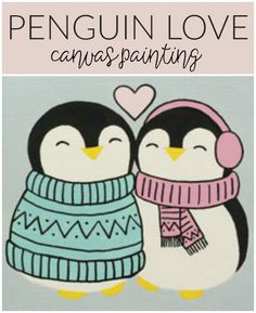 Social Artworking: Penguin Love | These two young penguins couldn't be any cuter! Their hearts are just as warm as their little bodies. This simple-to-paint design will surely be a hit for a Valentine party for kids or tweens and can be displayed throughout the winter months.