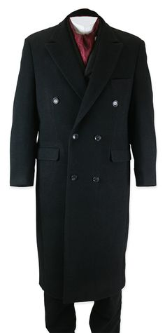 Victorian Mens Black Wool Blend Solid Peak Collar Overcoat | Dickens | Downton Abbey | Edwardian || Galvin Overcoat - Black