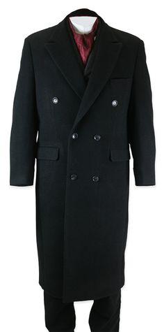 Victorian Mens Black Wool Blend Solid Peak Collar Overcoat | Dickens | Downton Abbey | Edwardian || Galvin Overcoat - Black